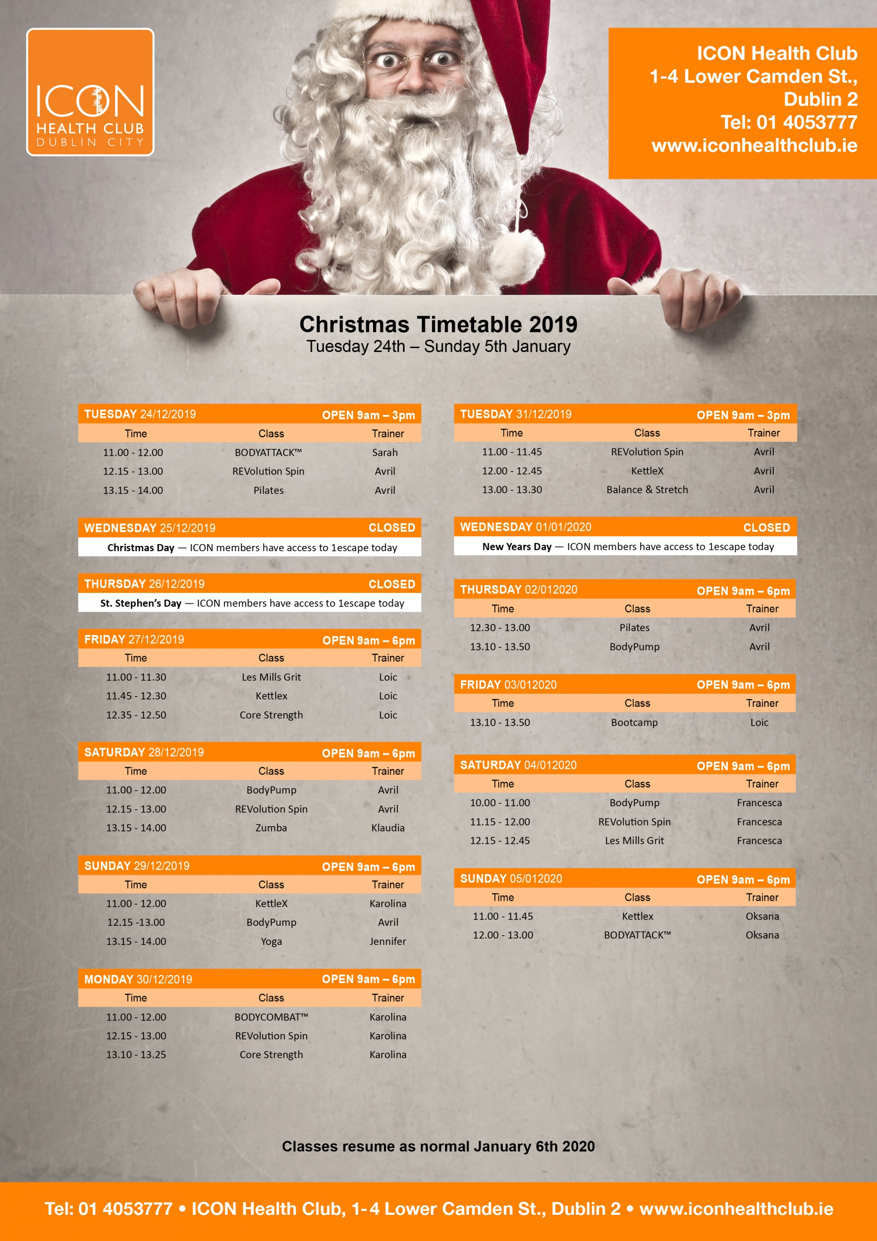 Icon fitness class timetable Christmas 2019